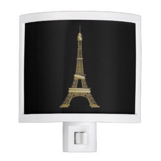 French Black Eiffel Tower Paris Night Light