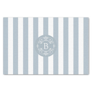 French Blue and White Awning Stripes with Monogram Tissue Paper