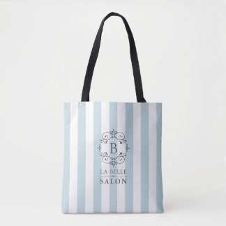 French Blue and White Awning Stripes with Monogram Tote Bag