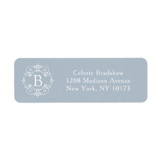French Blue and White Elegant Monogram Return Address Label
