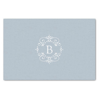 French Blue and White Elegant Monogram Tissue Paper
