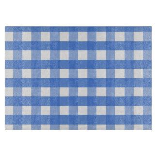 French Blue and White Gingham Cutting Board