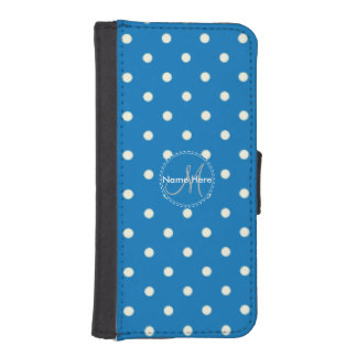 French Blue And White Polka Dots. Custom Name iPhone SE/5/5s Wallet Case