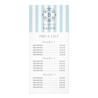 French Blue Awning Stripes Price List Menu