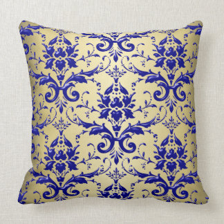 French Blue Damask Pattern with Gold Throw Pillow