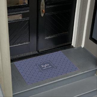 French Blue Damask stylish personalized Doormat