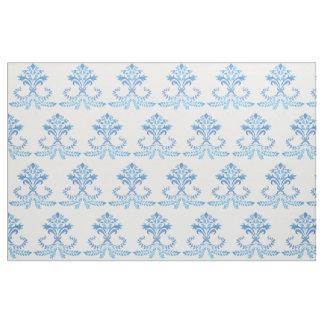 French Blue Fleur de lis pattern on cotton. Fabric