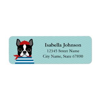 French Boston Terrier Blue Return Address Label