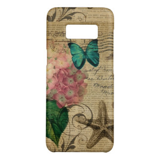 French botanical art seashell floral hydrangea Case-Mate samsung galaxy s8 case