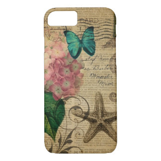 French botanical art seashell floral hydrangea iPhone 8/7 case