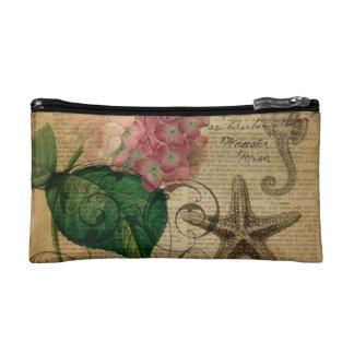 French botanical art seashell floral hydrangea makeup bags