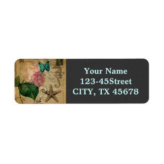 French botanical art seashell floral hydrangea return address label