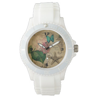 French botanical art seashell floral hydrangea wristwatches