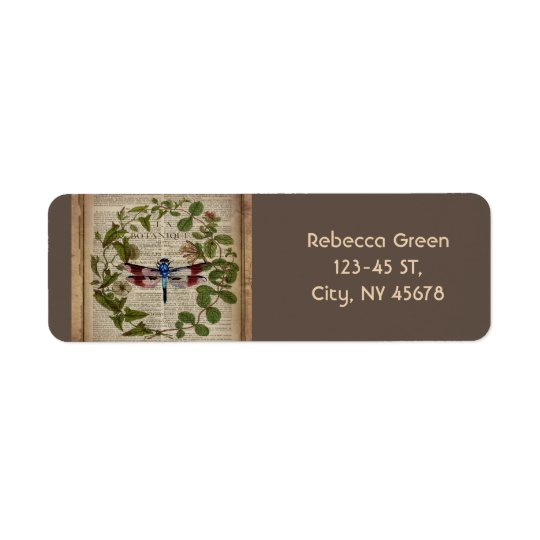 french botanical art vintage dragonfly return address label