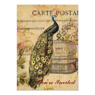 french botanical floral birdcage vintage peacock card
