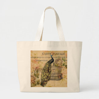 french botanical floral birdcage vintage peacock large tote bag