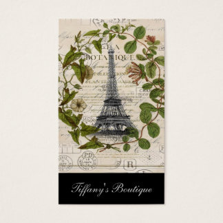 french botanical ivy leaves  paris eiffel tower business card