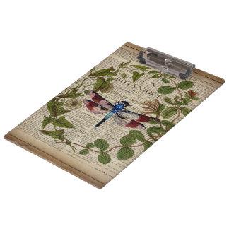 french botanical leaves modern vintage dragonfly clipboard