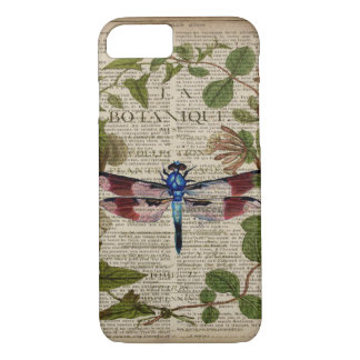 french botanical leaves modern vintage dragonfly iPhone 8/7 case
