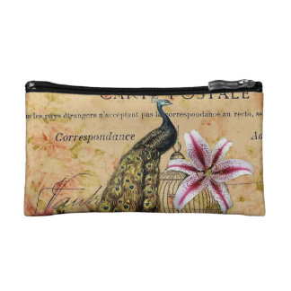 french botanical lily modern vintage peacock cosmetic bags