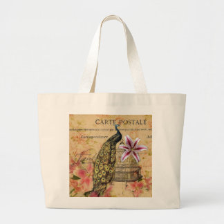 french botanical lily modern vintage peacock large tote bag