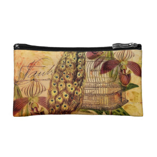 French Botanical orchid modern vintage peacock Cosmetics Bags