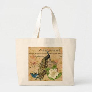 french botanical rose birdcage vintage peacock large tote bag