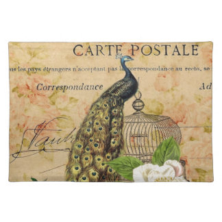 french botanical rose birdcage vintage peacock placemats
