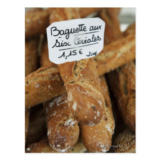 French bread at a market postcard