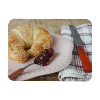 French breakfast with croissant rectangular photo magnet