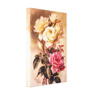 French Bridal Roses Wrapped Canvas Gallery Wrapped Canvas
