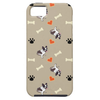 French bull dog, dog treat and paw patterns iPhone 5 covers