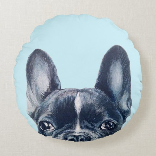 French bull dog round pillow