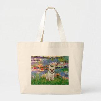 French Bulldog 1 - Lilies 2 Large Tote Bag