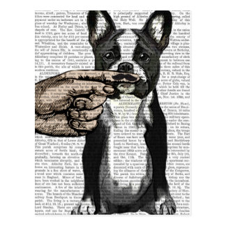 French Bulldog and Finger Moustache Postcard