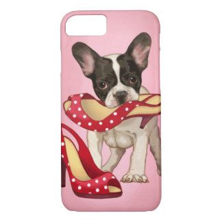 French bulldog and polka dot shoe iPhone 7 case