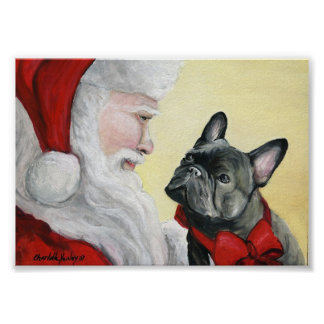 French Bulldog and Santa Claus Art Print Poster