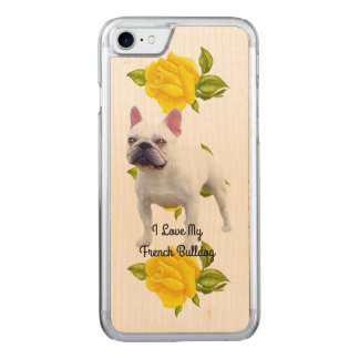 French Bulldog and yellow roses Carved iPhone 8/7 Case