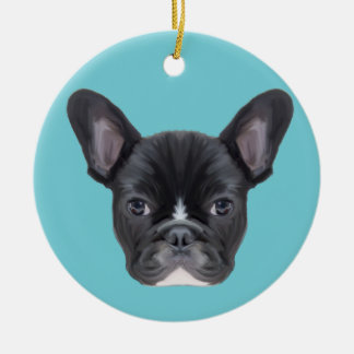 French Bulldog Art Portrait Ceramic Ornament