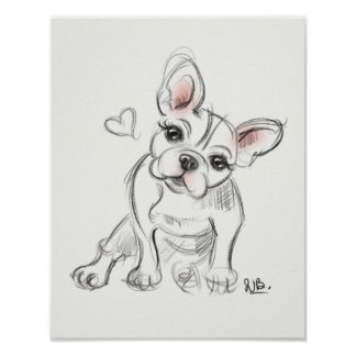 French bulldog Art print | quick sketch