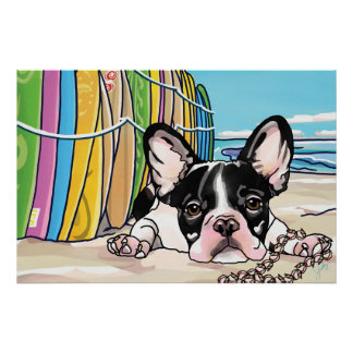 French Bulldog at Ocean, Hawaii Poster
