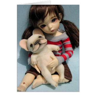 French Bulldog Baby Doll Sculpture 2 Card