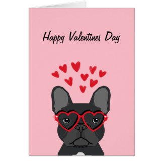 French Bulldog - black happy valentines day card