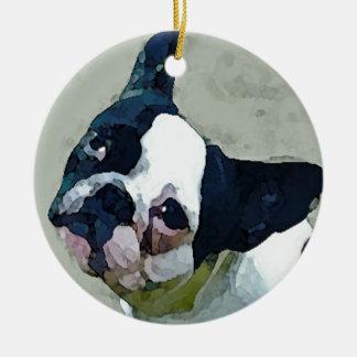 French Bulldog Black/White Ceramic Ornament