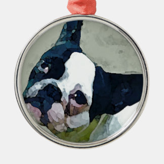 French Bulldog Black/White Metal Ornament