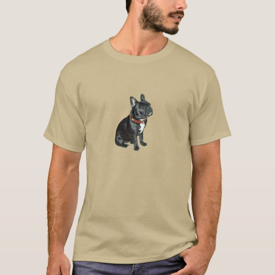 French Bulldog - Black with red collar T-Shirt