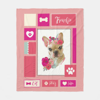 French bulldog blanket | Medium | blush
