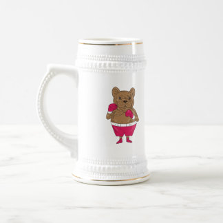 French Bulldog Boxer Boxing Stance Cartoon Beer Stein