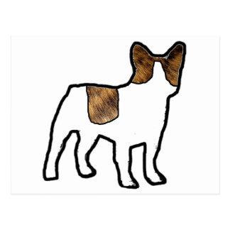 french bulldog brindle and white fur silo postcard
