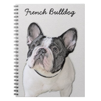French Bulldog (Brindle Pied) Painting - Dog Art Spiral Notebook